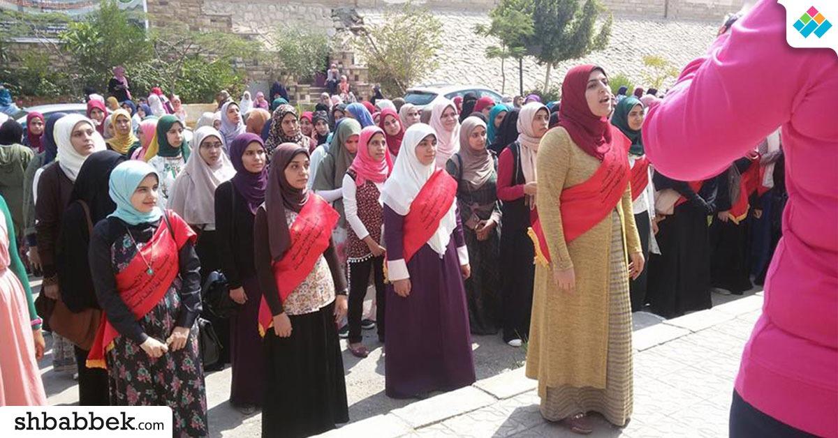 طابور عرض لطالبات الأزهر في أول يوم دراسي