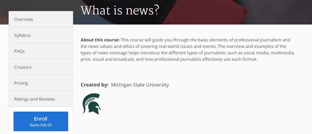 كورس أساسيات الصحافة المهنية موقع كورسيرا