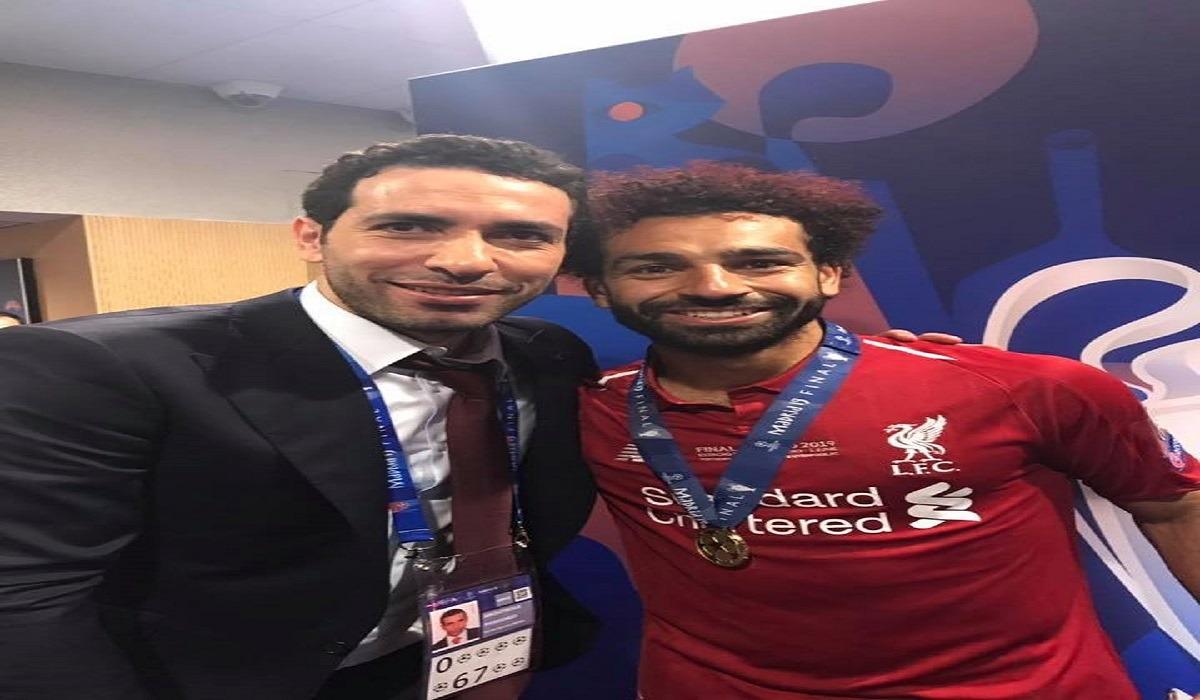 أبو تريكة ومحمد صلاح بعد نهائي دوري أبطال أوروبا (صور)
