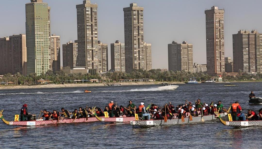 فوز فريق كونفوشيوس جامعة القاهرة بالمركز الأول في سباق التجديف