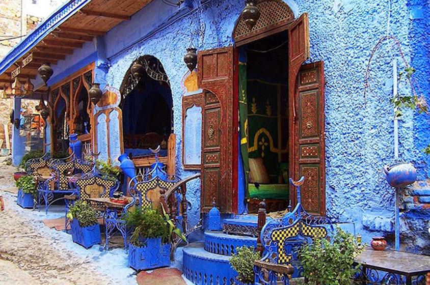 مقاهي مدينة شفشاون بالمغرب