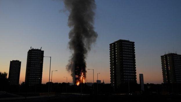 صور| حريق هائل يلتهم برجا سكنيا في لندن