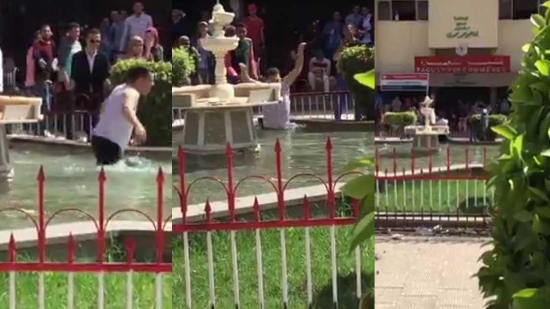 طالب يستحم أمام طالبات جامعة المنصورة «فيديو»