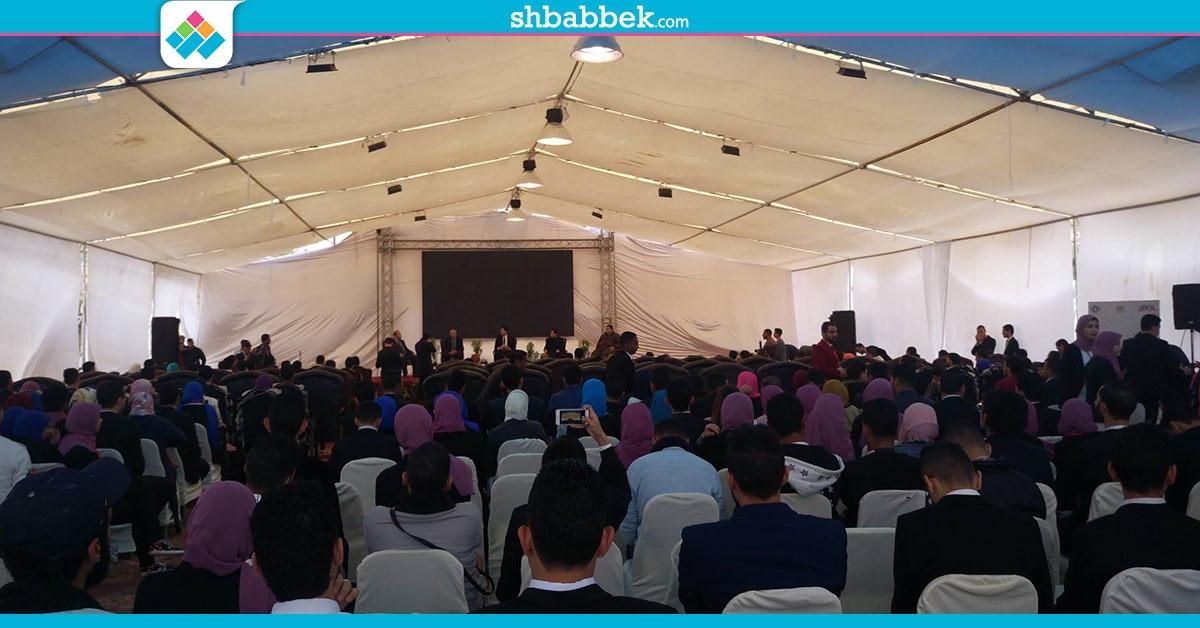 طلاب «جوالة المنصورة» يرددون أغاني حماسية في افتتاح ملتقى الاتحادات