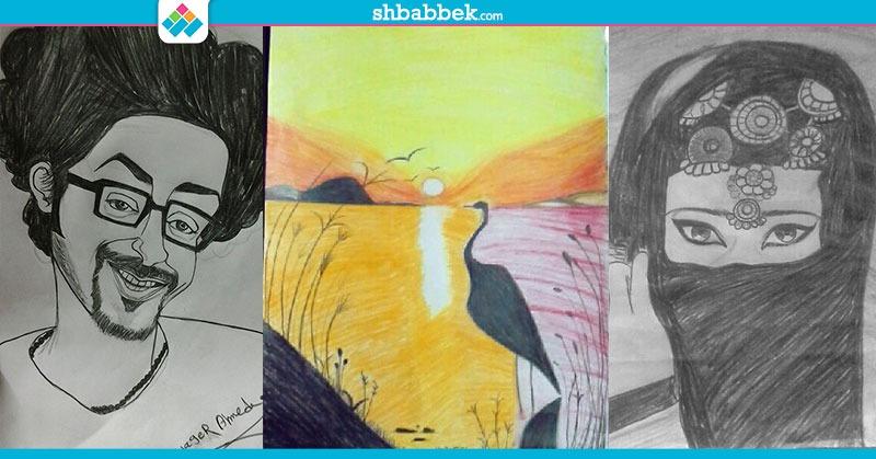 مواهب الرسم.. من مشاركات الطالبة هاجر أحمد (صور)