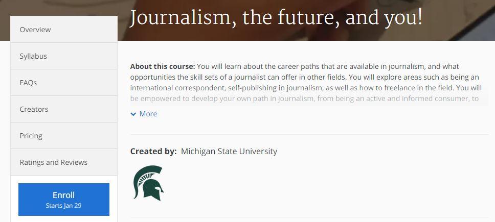 كورس مستقبلك المهني في الصحافة من موقع كورسيرا