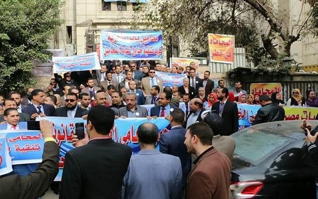أعضاء مجلس نقابة المحامين يتظاهرون ضد «المحامين»