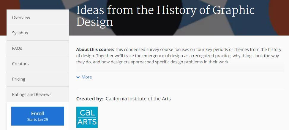 كورس أفكار من تاريخ تصميم الجرافيك بموقع كورسيرا