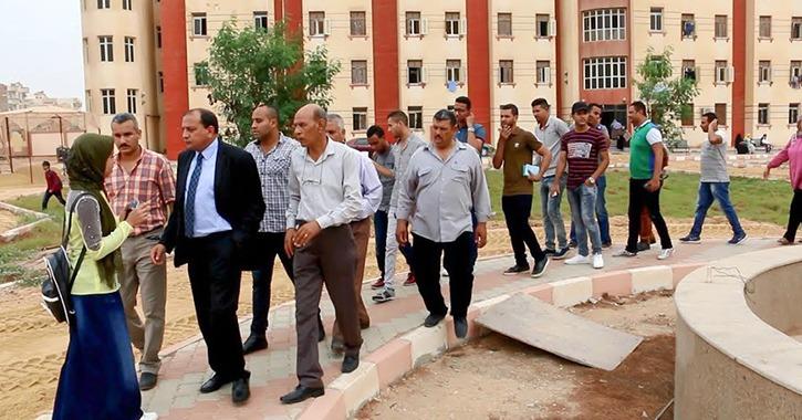 رئيس جامعة بني سويف يتفقد المدن الجامعية في زيارة مفاجئة