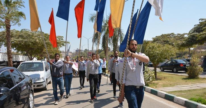 مسيرة طلابية تجوب جامعة أسيوط (صور)
