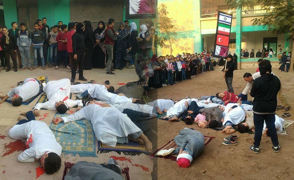 طلاب مدرسة بالدقهلية يجسدون حادث مسجد الروضة.. القاتل «تركيا وقطر وإسرائيل وإيران»