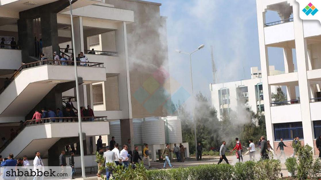 وزير التعليم العالي يشهد تجربة مواجهة الحرائق بجامعة المنيا (صور)