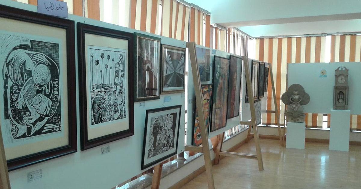 معرض جامعة المنيا للفنون التشكيلية في أسبوع شباب الجامعات يضم 36 عملا فنيا