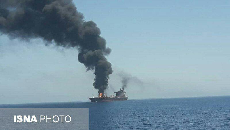 أول صور لناقلتي البترول المستهدفتين في خليج عمان