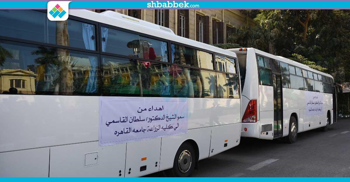 حاكم الشارقة يهدي «زراعة القاهرة» 5 أتوبيسات (صور)