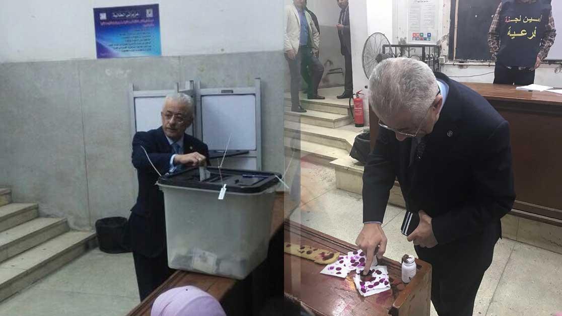 وزير التربية والتعليم يدلي بصوته في الانتخابات الرئاسية