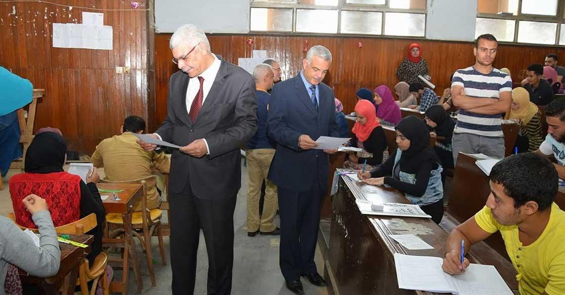 قيادات جامعة المنوفية تتابع سير امتحانات نهاية العام (صور)